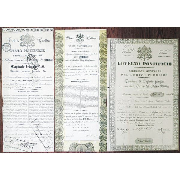 Papal Government, 1865 Public Debt Fund Certificate