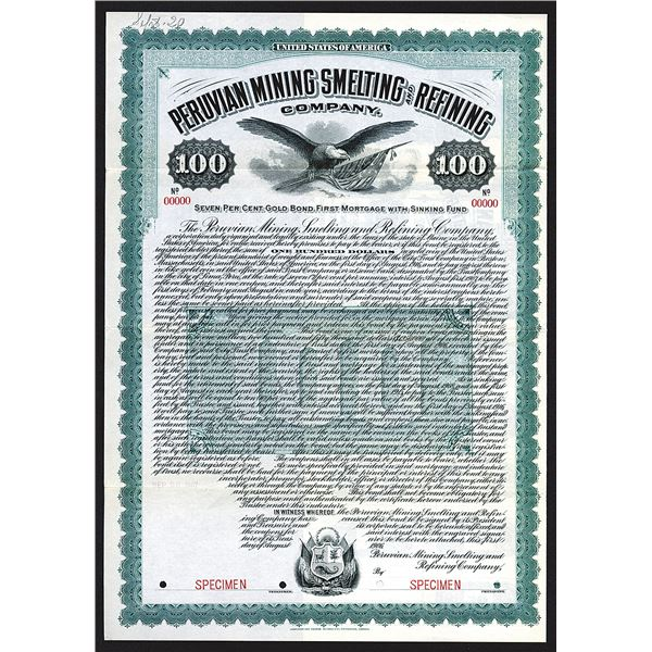 Peruvian Mining Smelting and Refining Co. 1906 Specimen Bond