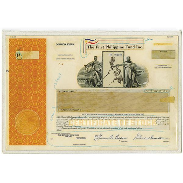 First Philippine Fund Inc. 1989. Unique Composite Essay of Stock Certificate.