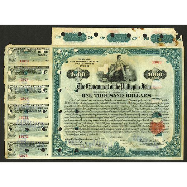 Government of the Philippine Bond, 1922 30 Year, 4 1/2% Gold Loan of 1922 Due 1952 I/C Bond.