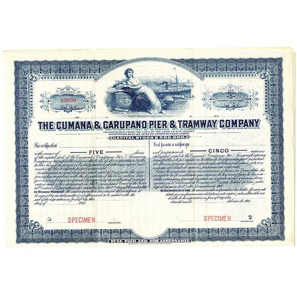 Cumana & Carupano Pier & Tramway Co., 1911 Specimen Stock Certificate
