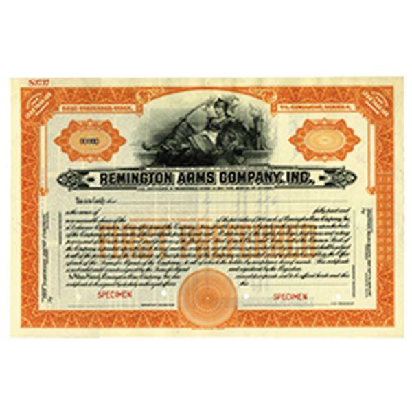 Remington Arms Co., 1920-30's Specimen Stock Certificate.