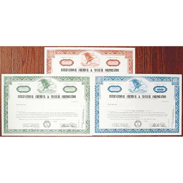 International Chemical & Nuclear Corp. Specimen Stock Certificate Trio, 1968