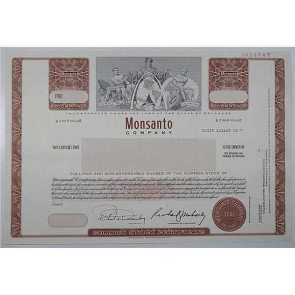 Monsanto Co. 1990 Specimen Stock Certificate