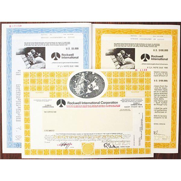 Rockwell International Corp. Specimen Stock Certificate and Bond Trio, 1986-1987