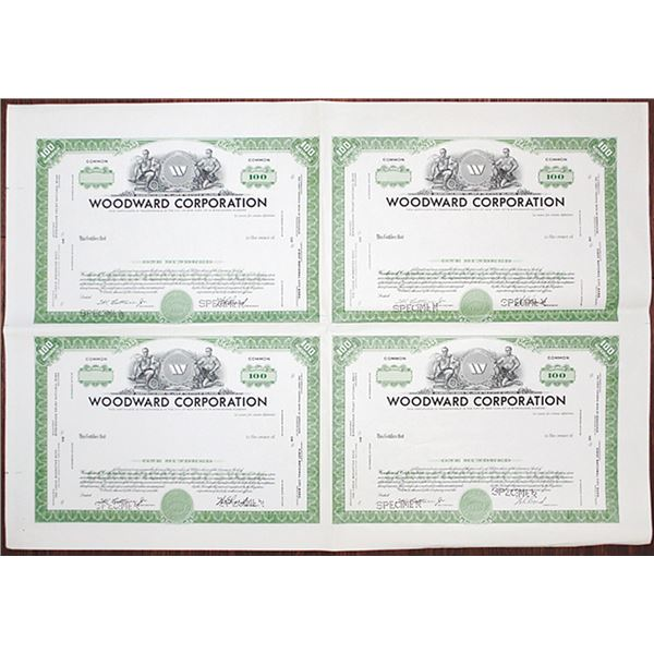 Woodward Corp. ca. 1950-60's Uncut Specimen Sheet of 4 Stock Certificates .