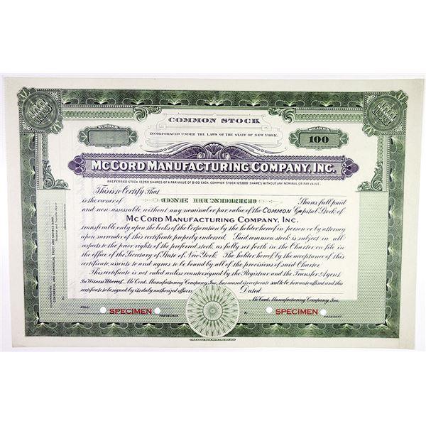 McCord Manufacturing Co., Inc. Specimen Stock Certificate