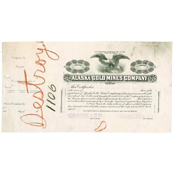 Alaska Gold Mines Co., ca.1900-1920 Proof Stock Certificate