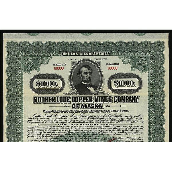 Mother Lode Copper Mines Co. of Alaska, 1916 Specimen Bond.
