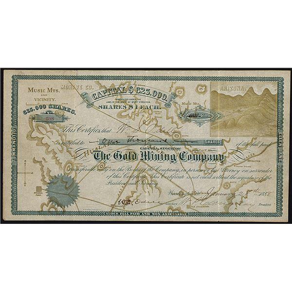 The Gold Mining Company, 1888 I/U Stock Certificate Rarity.