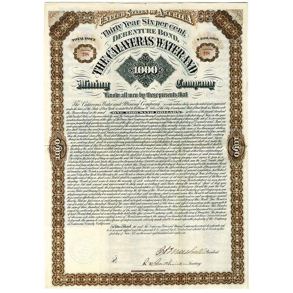 Calaveras Water and Mining Co., 1881 I/U Gold Bond.