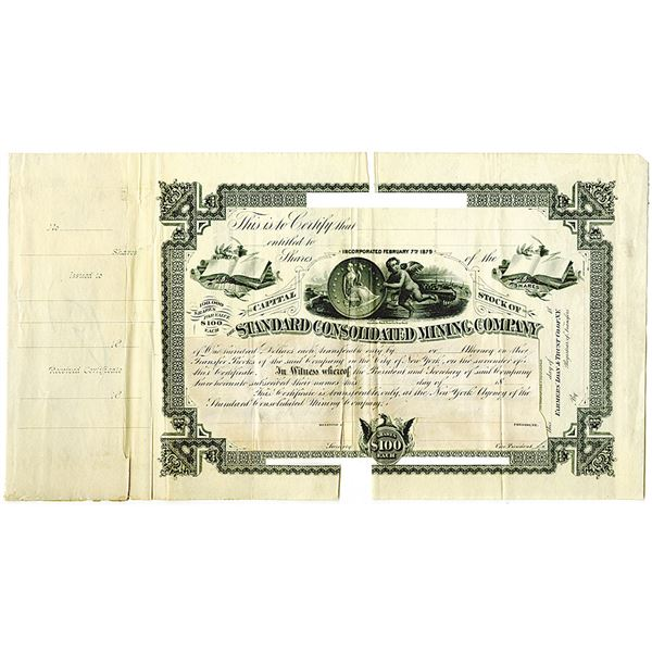 Standard Consolidated Mining Co., 1880's Unique Specimen Stock Certificate Used as a Model.