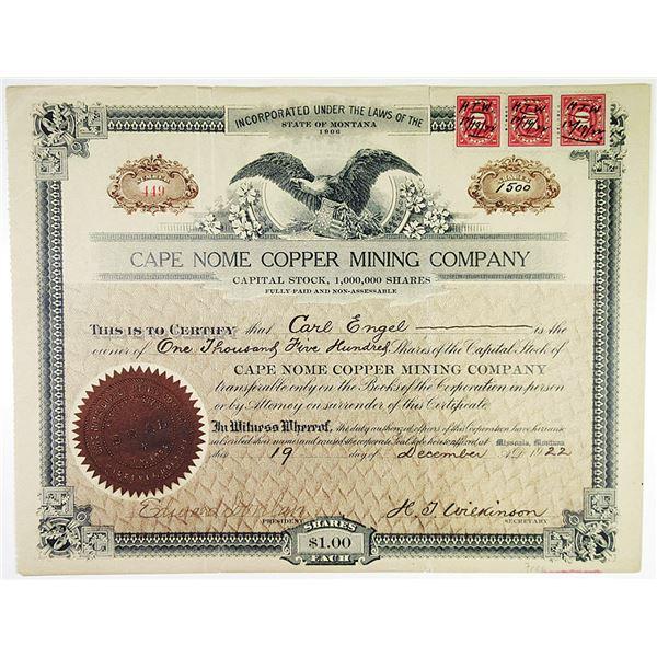 Cape Nome Copper Mining Co. 1922 Stock Certificate