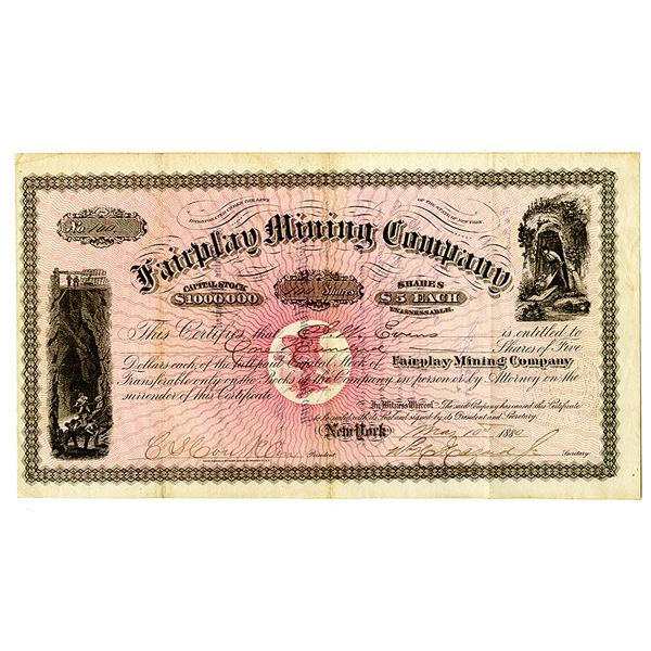 Fairplay Mining Co. 1880 I/U Stock Certificate from Montana Territory