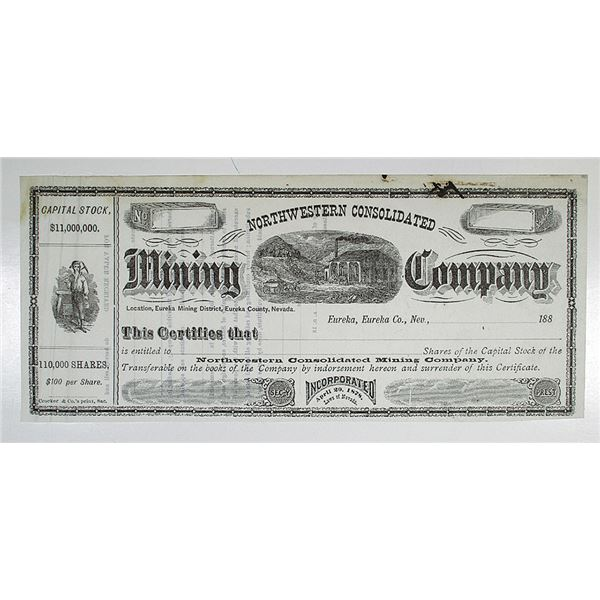 Northwestern Consolidated Mining Co., 1880's I/U Stock Certificate