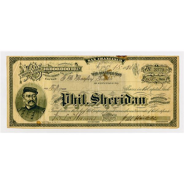 Phil Sheridan Gold and Silver Mining Co. 1880 Stock Certificate.