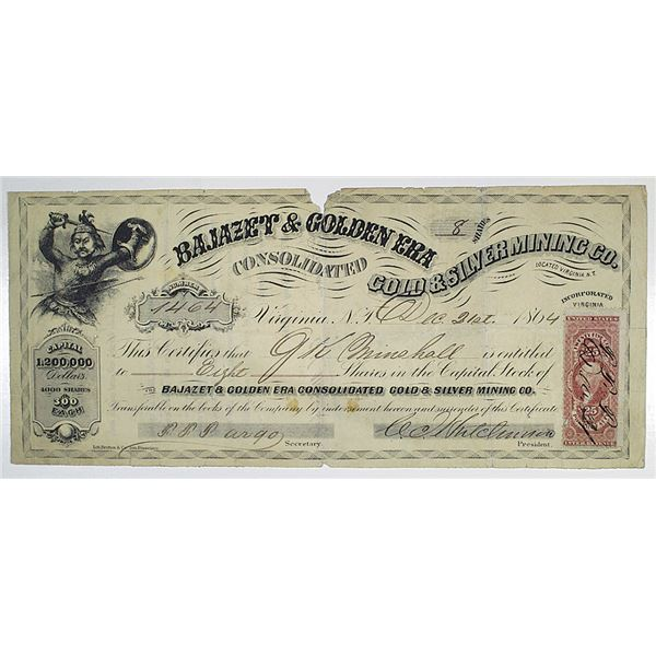Bajazet & Golden Era Consolidated Gold & Silver Mining Co. 1864 I/U Stock Certificate