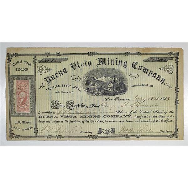 Buena Vista Mining Co. 1863 I/U Stock Certificate