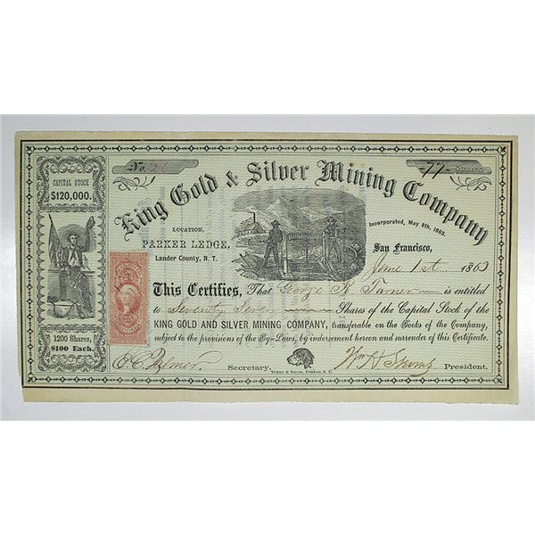 King Gold & Silver Mining Co. 1863 I/U Stock Certificate