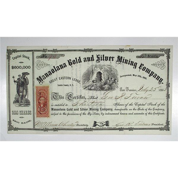 Manaolana Gold and Silver Mining Co. 1863 I/U Stock Certificate