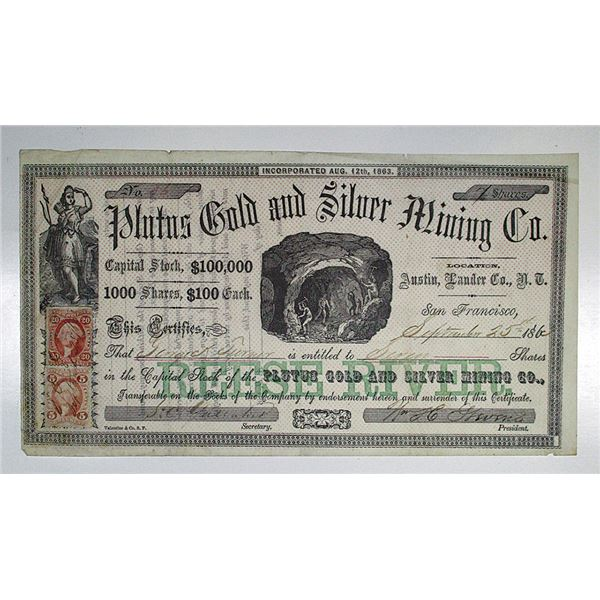 Plutus Gold and Silver Mining Co. 1863 I/U Stock Certificate.