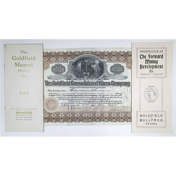 Goldfield Consolidated Mines Co. 1909 Stock Certificate and Goldfield and Bullfrog ca.1900 Mining Pa