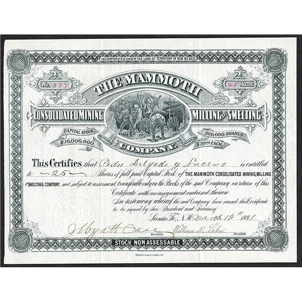 Mammoth Consolidated Mining Milling and Smelting Co. 1881 I/U Stock certificate