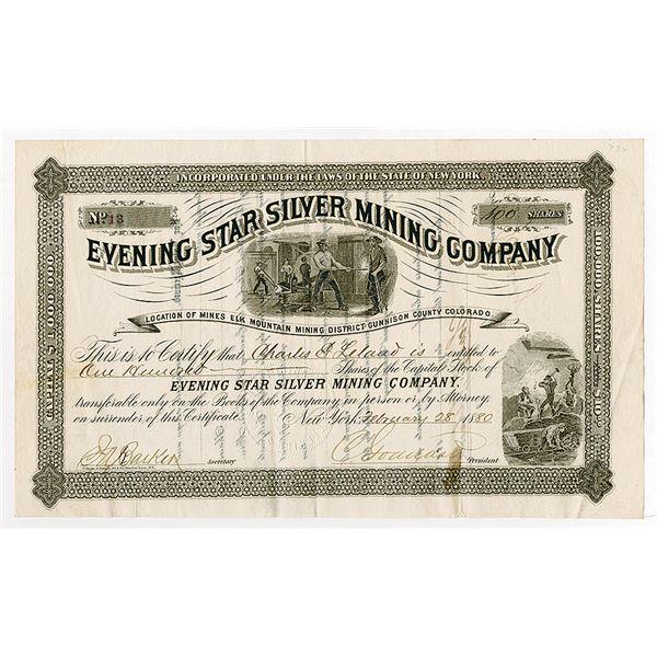 Evening Star Silver Mining Co. 1880 I/U Stock Certificate.
