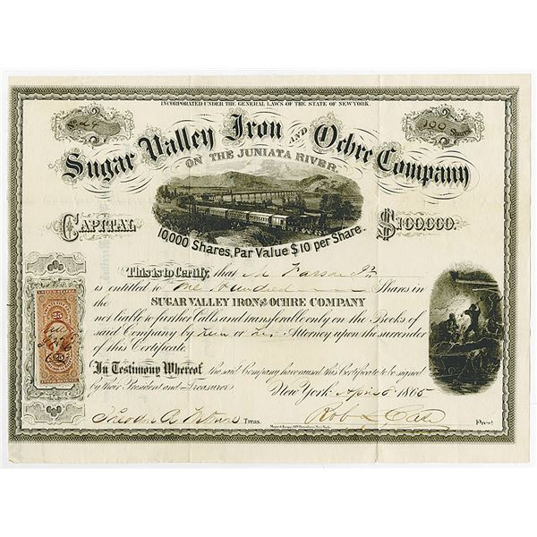 Sugar Valley Iron and Ochre Co. on the Juniata River, 1865 I/U Stock Certificate