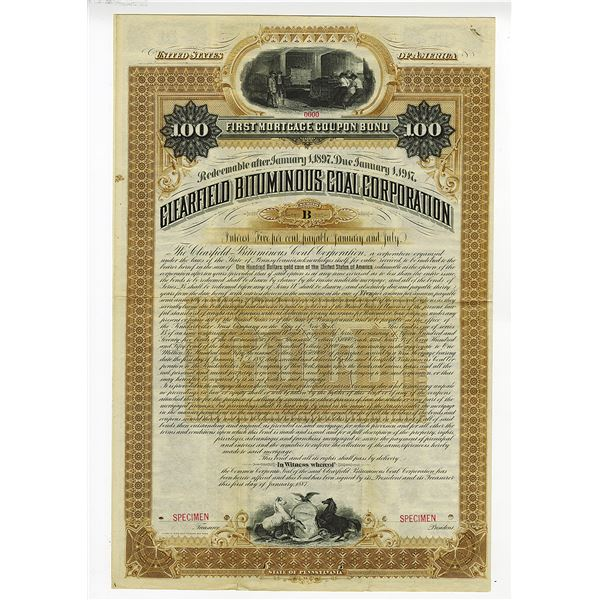 Clearfield Bituminous Coal Corp., 1887 Specimen Bond