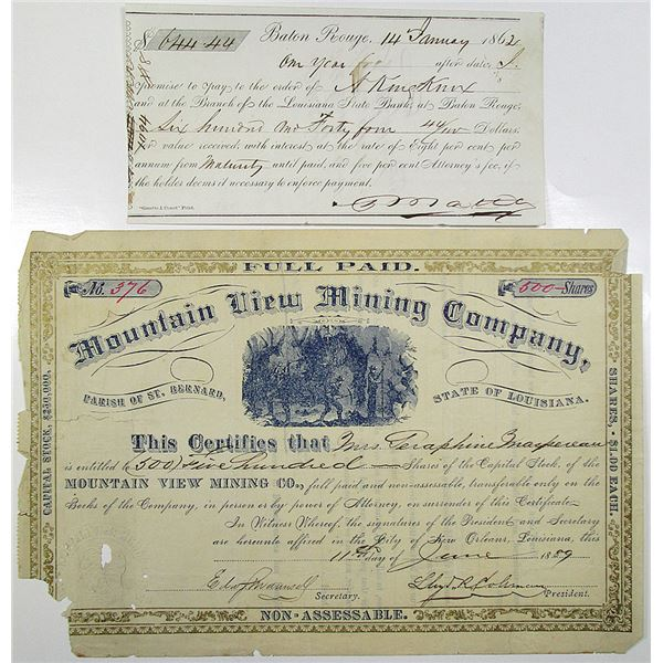 New Orleans and Baton Rouge Louisiana Stock Certificate and Promissory Issued Pair