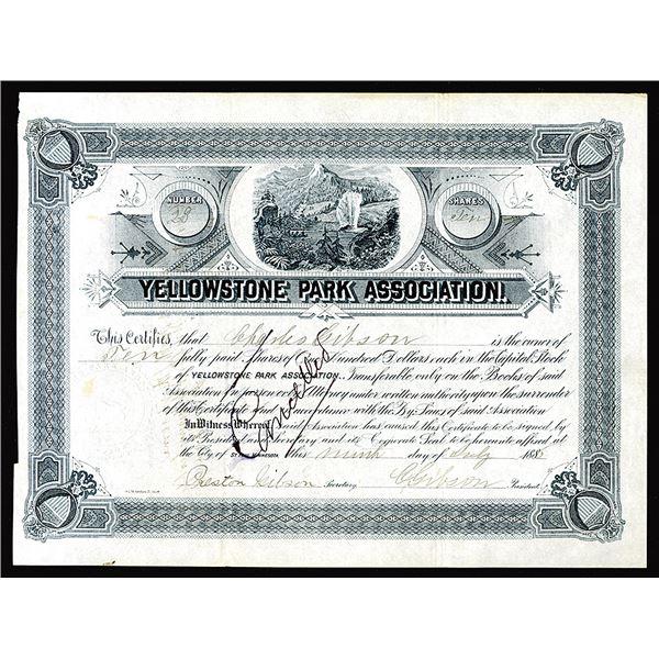 Yellowstone Park Association,  1886 I/C Stock Certificate.