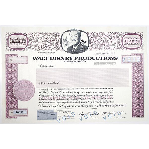 Walt Disney Productions Inc. 1984 Specimen - Void Stock Certificate