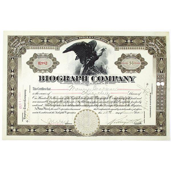 Biograph Co. 1925 I/U Stock Certificate