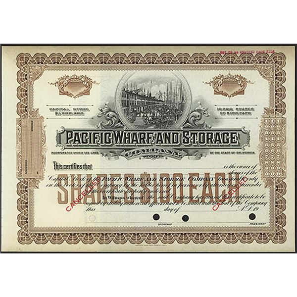 Pacific Wharf and Storage Co., 1900-1920 Specimen Stock