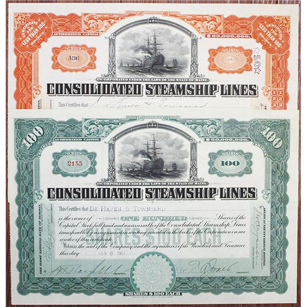 Consolidated Steamship Lines, 1907 I/U Stock Certificate Pair