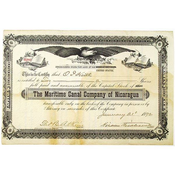 Maritime Canal Company of Nicaragua 1892 I/U Stock Certificate