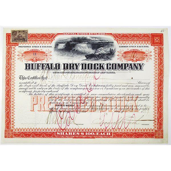 Buffalo Dry Dock Co. 1899 I/C Stock Certificate