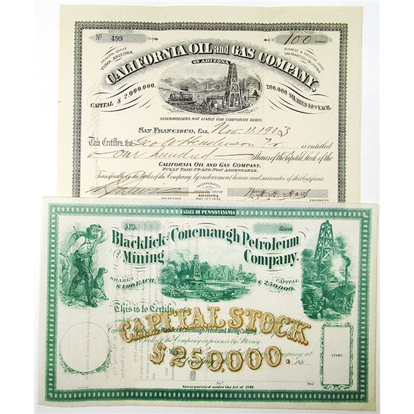 California Oil and Gs Co., 1903 I/U Stock and Blacklick and Conemaugh Petroleum and Mining Co., 1860