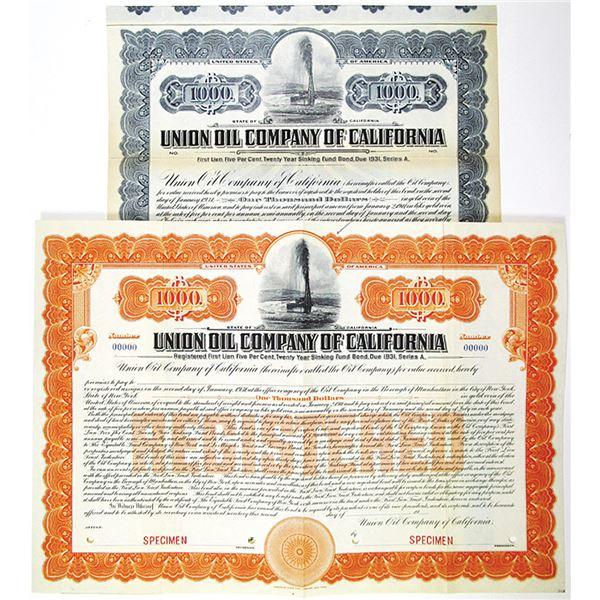 Union Oil Co. of California 1911 Specimen Bond Pair