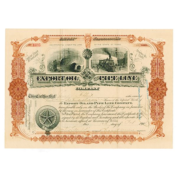 Export Oil & Pipe Line Co. 1901 Stock Certificate.
