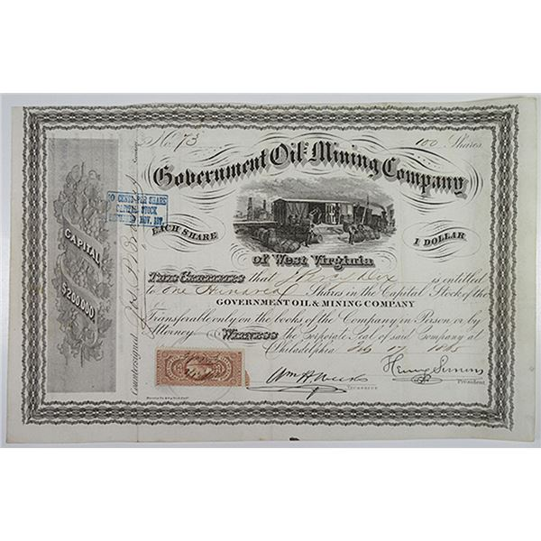 Government Oil and Mining Company of West Virginia. 1865 I/U Stock Certificate.