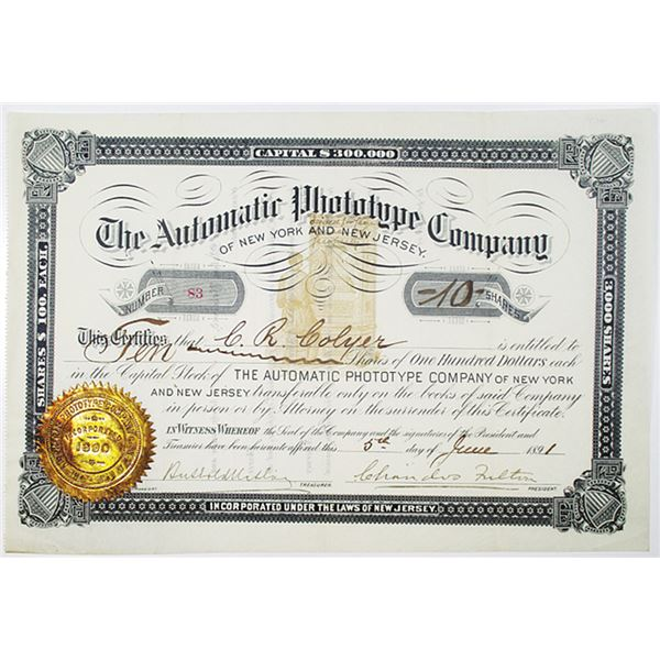 Automatic Phototype Company of New York and New Jersey 1891 I/U Stock Certificate