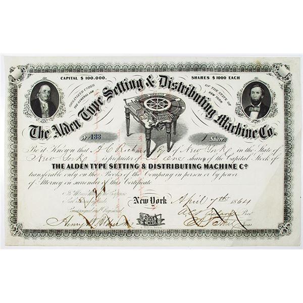 Alden Type Setting & Distributing Machine Co. 1864 I/C Stock Certificate