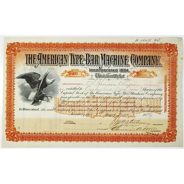 American Type-Bar Machine Co. 1899 I/U Stock Certificate