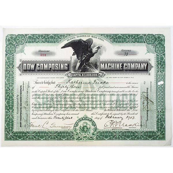 Dow Composing Machine Co. 1903 I/U Stock Certificate