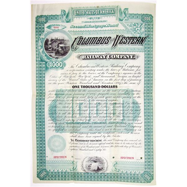 Columbus and Western Railway Co. 1886 Specimen Bond Rarity
