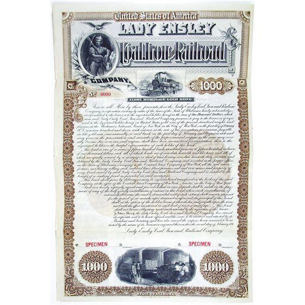 Lady Ensley Coal, Iron and Railroad Co. 1891 Unique Specimen Bond Rarity