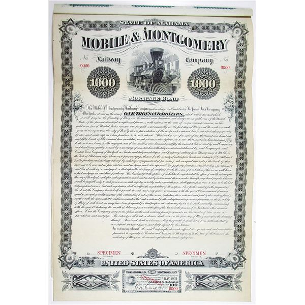 Mobile & Montgomery Railway Co. 1881 Specimen Bond