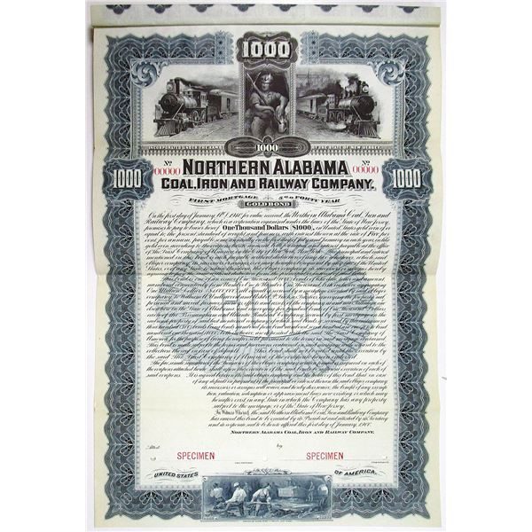 Northern Alabama Coal, Iron and Railway Co. 1900 Specimen Bond